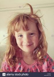 hair cute for 6 year old girls young 6 year old girl waking up with messy hair stock photo