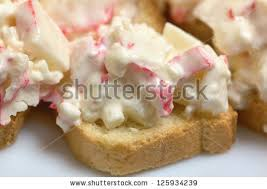 crab canapes canapes crab sticks closeup stock photo royalty free