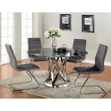 Contemporary Dining Sets by Furniture Of America Damore Contemporary 5 Piece High Gloss Round