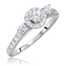 women s engagement rings 7 8 carat t w cut diamond engagement ring 14k white gold