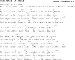 christmas carol song lyrics with chords for christmas in dixie
