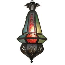 Foyer Pendant Light Fixtures Retro Morocco Colorful Glass Pendant Light Classic Hallway Balcony