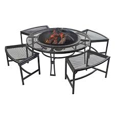 Backyard Fire Pit Lowes by Shop Garden Treasures Steel Firepit With 4 Stools At Lowes Com