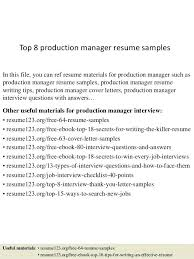 production resume template production resume template top 8 production manager resume sles