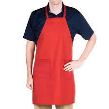 floor l with adjustable neck red full length bib apron with adjustable neck with pockets 32 l x