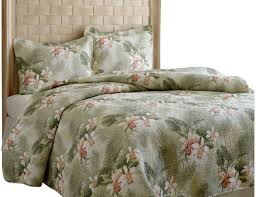 Hawaiian Bedding Tommy Bahama Bedding Tropical Orchid 3 Piece Reversible Quilt Set