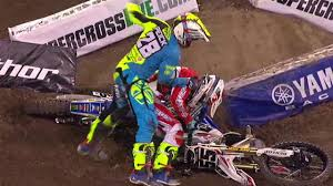 ama motocross riders riders fight after crash at supercross event youtube