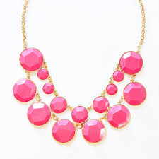 pink collar necklace images Bauble box bib chunky gold chain statement necklace in hot pink jpg