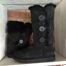 ugg boots sale bailey button triplet 82 ugg shoes ugg bailey button triplet boots in black from
