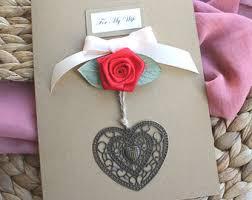anniversary card handmade 4th anniversary card linen