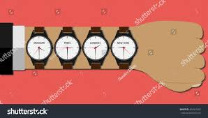 wristwatch on time different countries stock vector 466241402