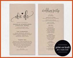 Wedding Ceremony Bulletin Template Wedding Programs Template Moa Format