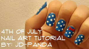 4th of july nail art 2017 tutorial bowtie and polka dots by jd