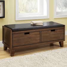 Under Window Storage by Furniture Brown Wooden Storage Bench With Black Leather Seat