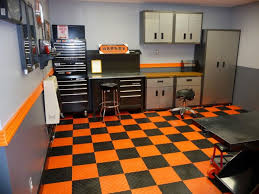 Two Car Garage Organization - ideas bright orange checkered floor paired with two tone wall