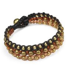 beaded rope bracelet images Majestic brass beads orange tan black cotton rope three strand jpg