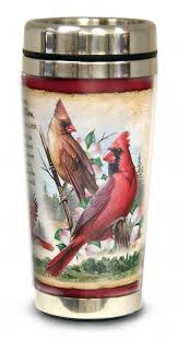 cardinal home decor gifts american expedition northern cardinal 16 oz steel travel mug