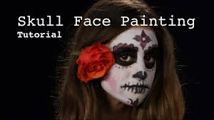 Skull Face Makeup Halloween How To Do Skull Face Painting Day Of The Dead Style Youtube