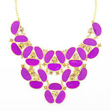 purple necklace images Purple pansy bib necklace gold tone flower statement necklace by jpg