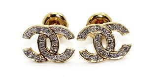 14kt gold earrings 1 8g 14kt gold chanel logo earrings with small diamond accents