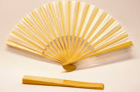 silk fan 23cm bamboo ribs with white silk fan wills quills