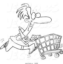 Shopping Cart Coloring Page vector of a pushing a shopping cart coloring page