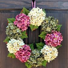 and summer artificial hydrangea wreath for