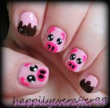 cute piggy nail art for short nails youtube