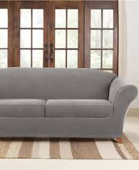 Two Cushion Sofa by Sure Fit Slipcovers Ultimate Stretch Chenille Two Cushion Sofa