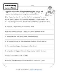 punctuating appositives printable appositive worksheets
