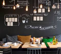 edison bulbs grouped together over a dining table chalkboard