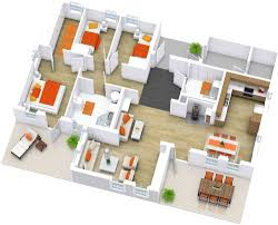 house with 4 bedrooms 4 bedroom modern house plans 3d house plans