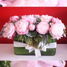peony flower delivery peonies in a rectagular vase approx in redondo ca