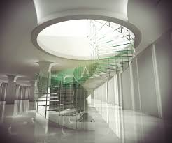 modern open views interior designs with glass staircase and iron