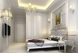 modern bedroom design with silver wallpaper idea and grey bedding