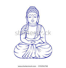Buddha Sitting Outline Stock Vector Illustration Stock Vector Buddhist Coloring Pages