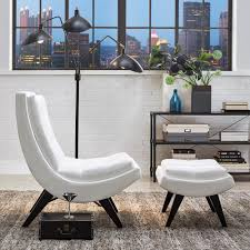 White Armchair With Ottoman Homesullivan White Faux Leather Chair With Ottoman 40876s651s 3a