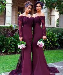 purple long sleeves bridesmaid dresses mermaid off shoulder