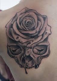 skull rose tattoo by dragstrip tattoos