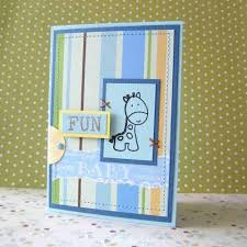 handmade baby giraffe card in blue for birthday baby shower no