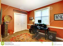 Home Office Interior Design With Orange Royalty Free Stock - Free home interior design