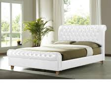 Faux Bed Frames White Leather Bed Frame 4ft6 Faux Small Cheap With