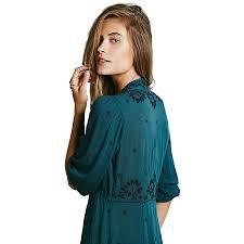 dress women bohemian dark green boho people dress vintage ethnic