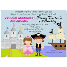 pirate and princess invitation printable or printed with free