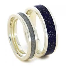his and hers sterling wedding band set stardust rings with