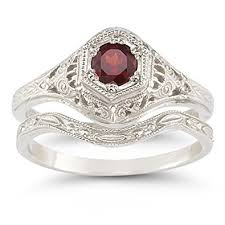 ruby wedding rings antique style ruby wedding ring set jewelry