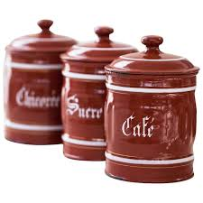 enamel kitchen canisters 1940s vintage french enamel kitchen canisters set of 3 burgundy