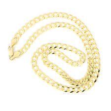 solid gold chain necklace images Men 39 s solid 14k yellow gold comfort cuban curb 5 7mm chain jpg