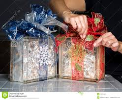 glass blocks with christmas ribbons and lights stock image image