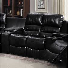 chintaly laredo bonded leather reclining loveseat in black